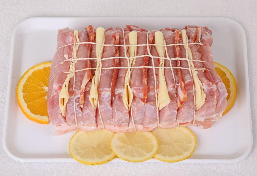 Lombo Recheado com Queijo e Bacon